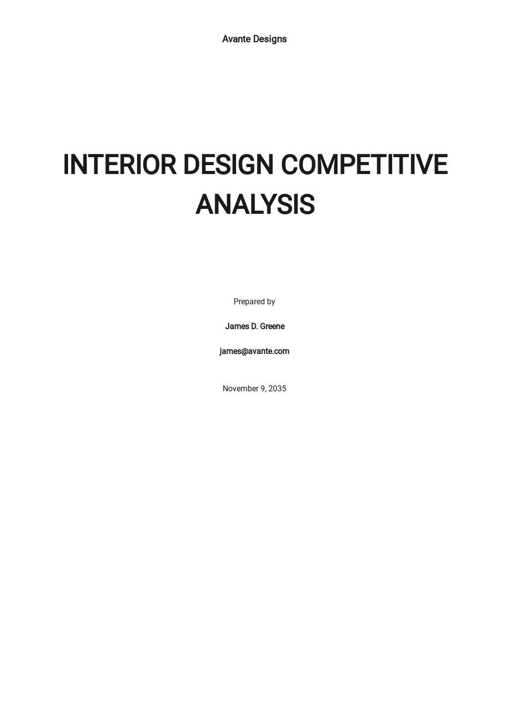 Interior Design Competitive Analysis Template