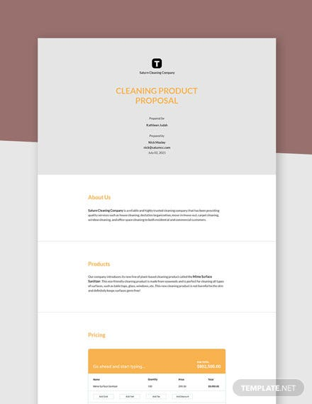 Sample Product Proposal Template
