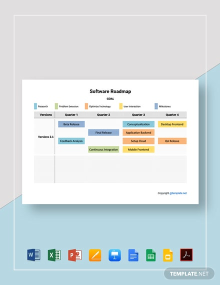 Free Sample Software Roadmap Template