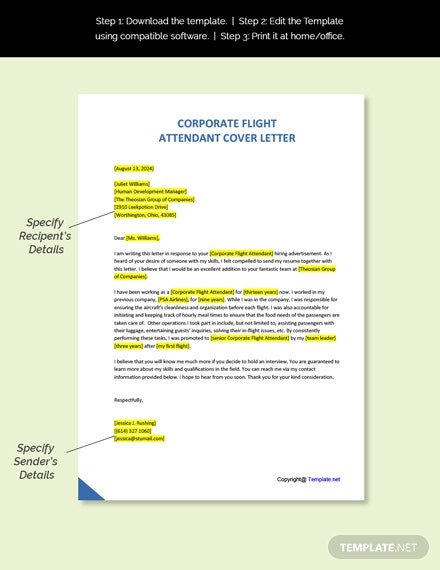 Corporate Flight Attendant Cover Letter  Template
