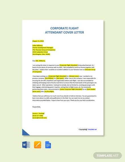 Free Corporate Flight Attendant Cover Letter Template