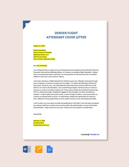 Free Denver Flight Attendant Cover Letter Template