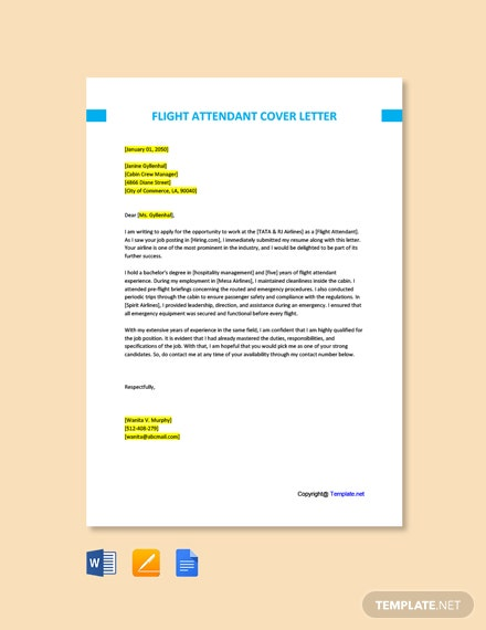 Free Flight Attendant Cover Letter Template