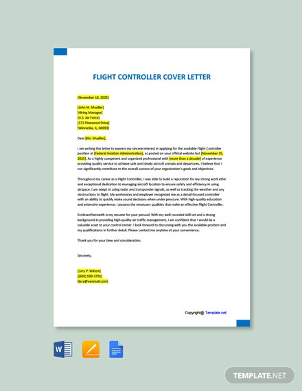 Free Flight Controller Cover Letter Template