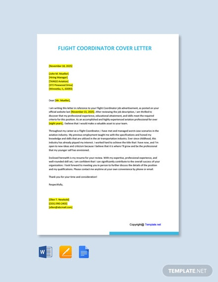 Free Flight Coordinator Cover Letter Template