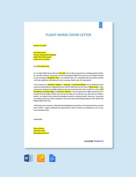 Free Flight Nurse Cover Letter Template