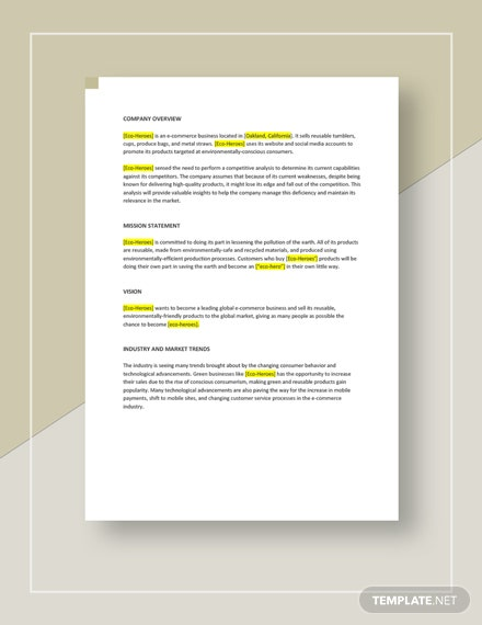 E commerce Competitive Analysis Template