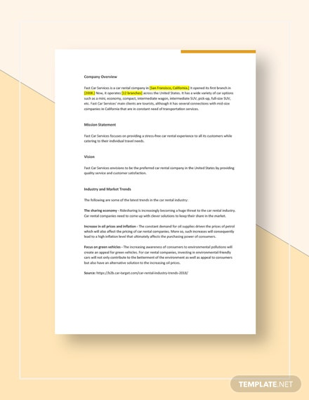 Car Rental Competitive Analysis Template