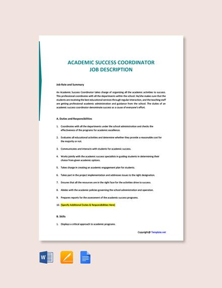 Free Academic Success Coordinator Job Description Template