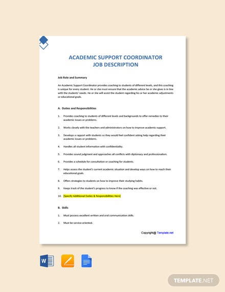 Free Academic Support Coordinator Job Ad and Description Template