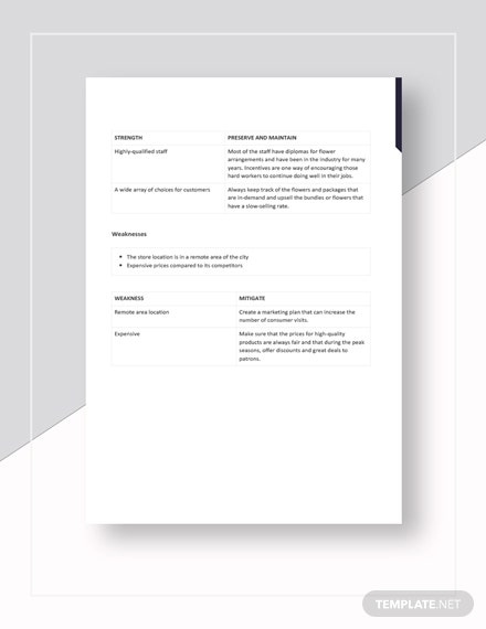 Sample Flower Shop Florist SWOT Analysis Template
