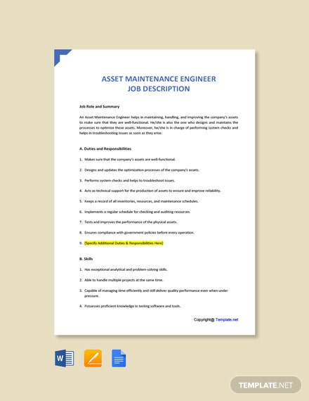 Free Asset Maintenance Engineer Job Ad and Description Template