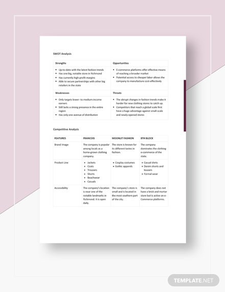 Clothing Store Competitive Analysis Template Download