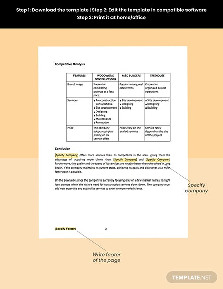 Construction Company Competitive Analysis Template sample