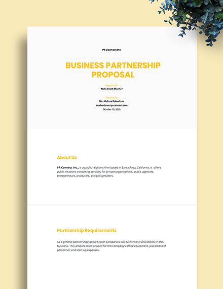 Free Sample Partnership Proposal Template