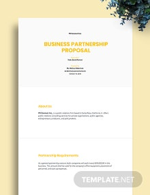 Free Sample Partnership Proposal Template