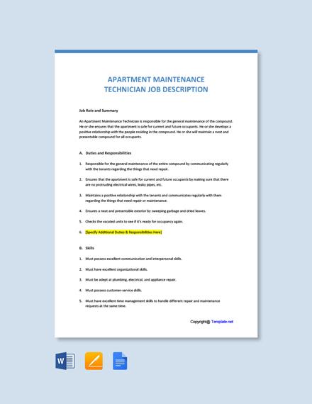Free Apartment Maintenance Technician Job Description Template