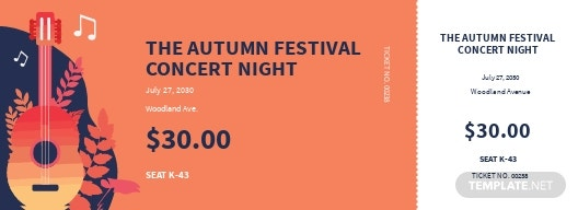 Fall Festival Concert Ticket Template