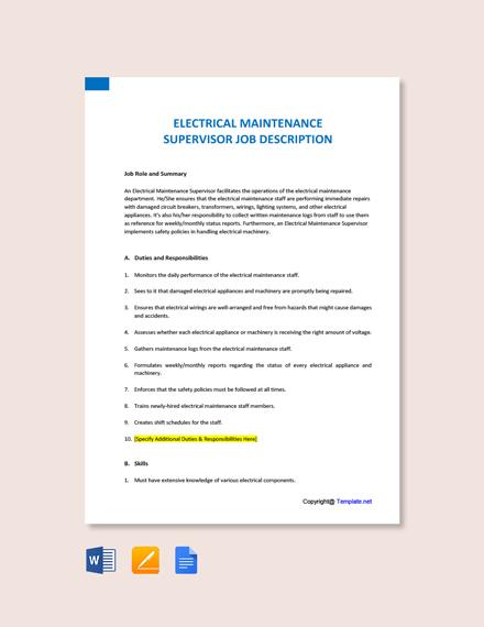 Free Electrical Maintenance Supervisor Job Description Template