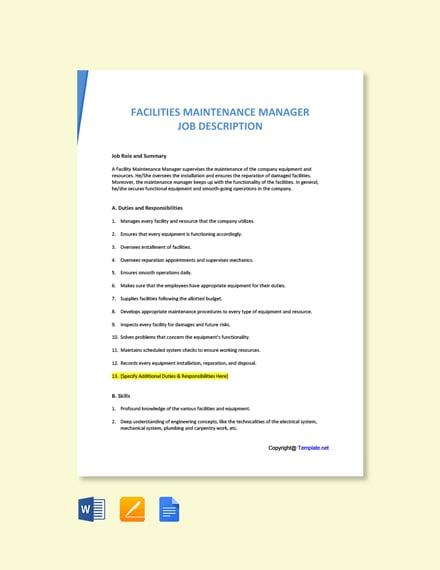 Free Facilities Maintenance Manager Job Description Template