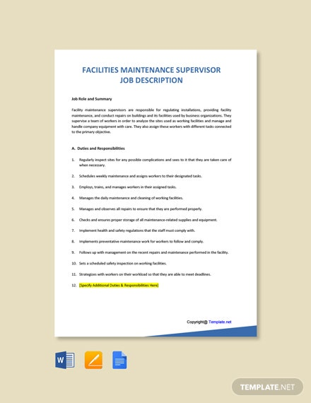 Free Facilities Maintenance Supervisor Job Ad and Description Template