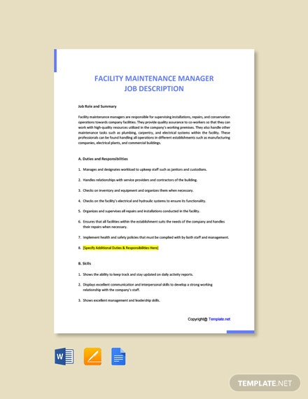 Free Facility Maintenance Manager Job Ad and Description Template