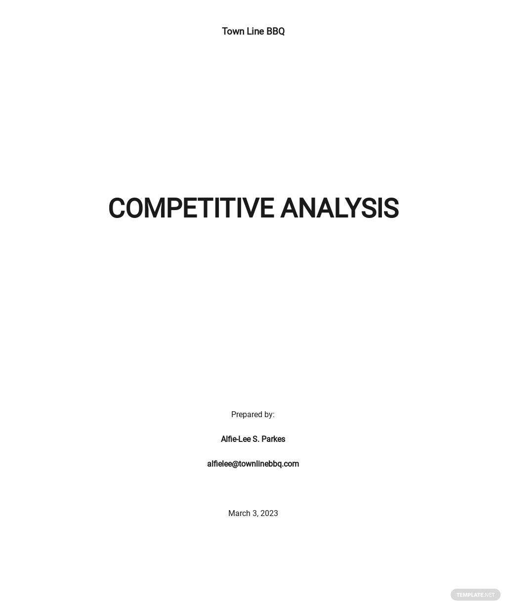 Free Editable Competitive Analysis Template