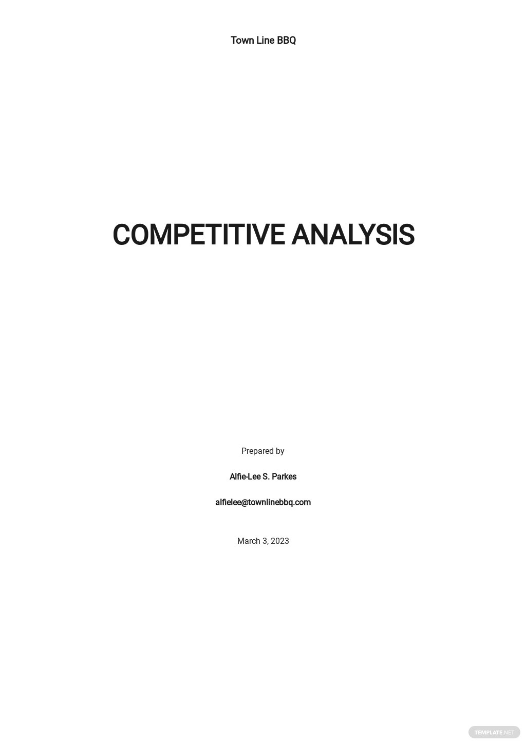 Editable Competitive Analysis Template