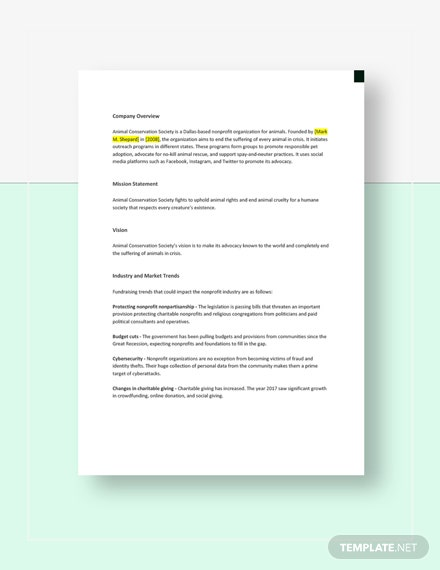 Nonprofit Competitive Analysis Template