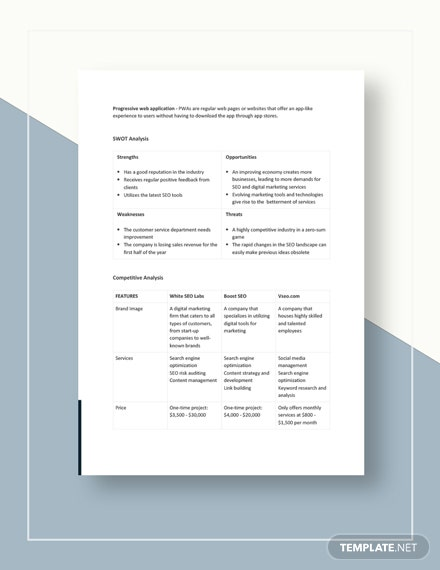 SEO Competitive Analysis Template Download