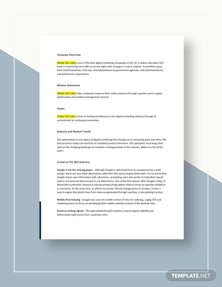 SEO Competitive Analysis Template
