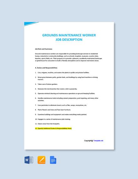 Free Grounds Maintenance Worker Job Description Template