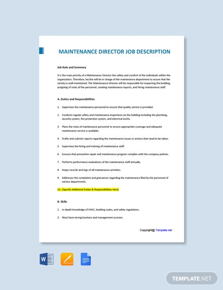 Free Maintenance Director Job Description Template