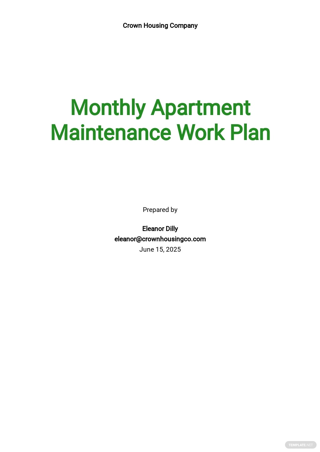 Monthly Work Plan Template