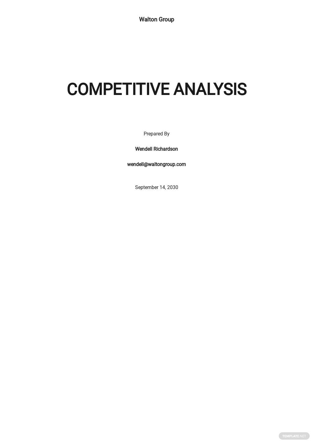 Product Management Competitive Analysis Template