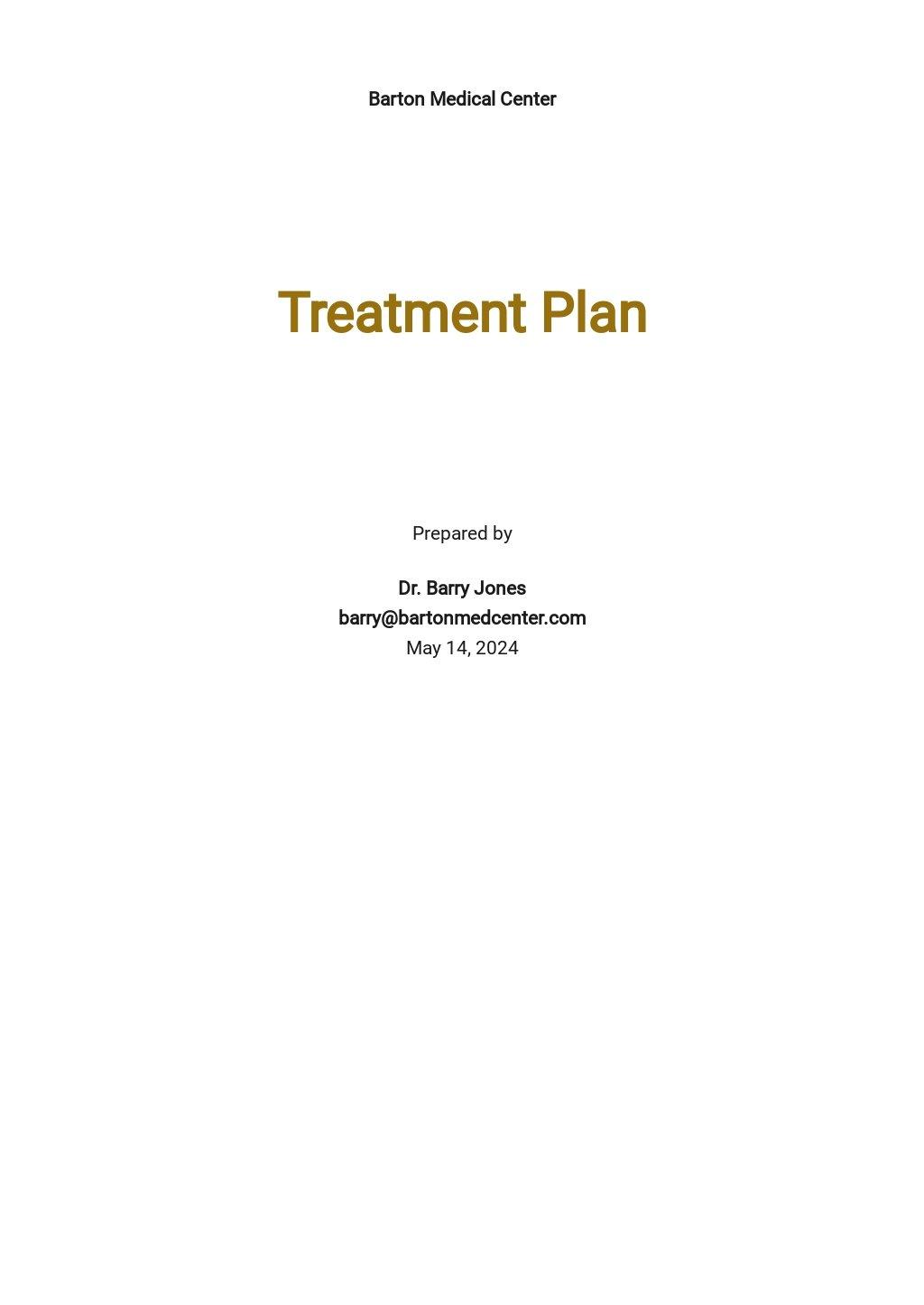 Sample Treatment Plan Template