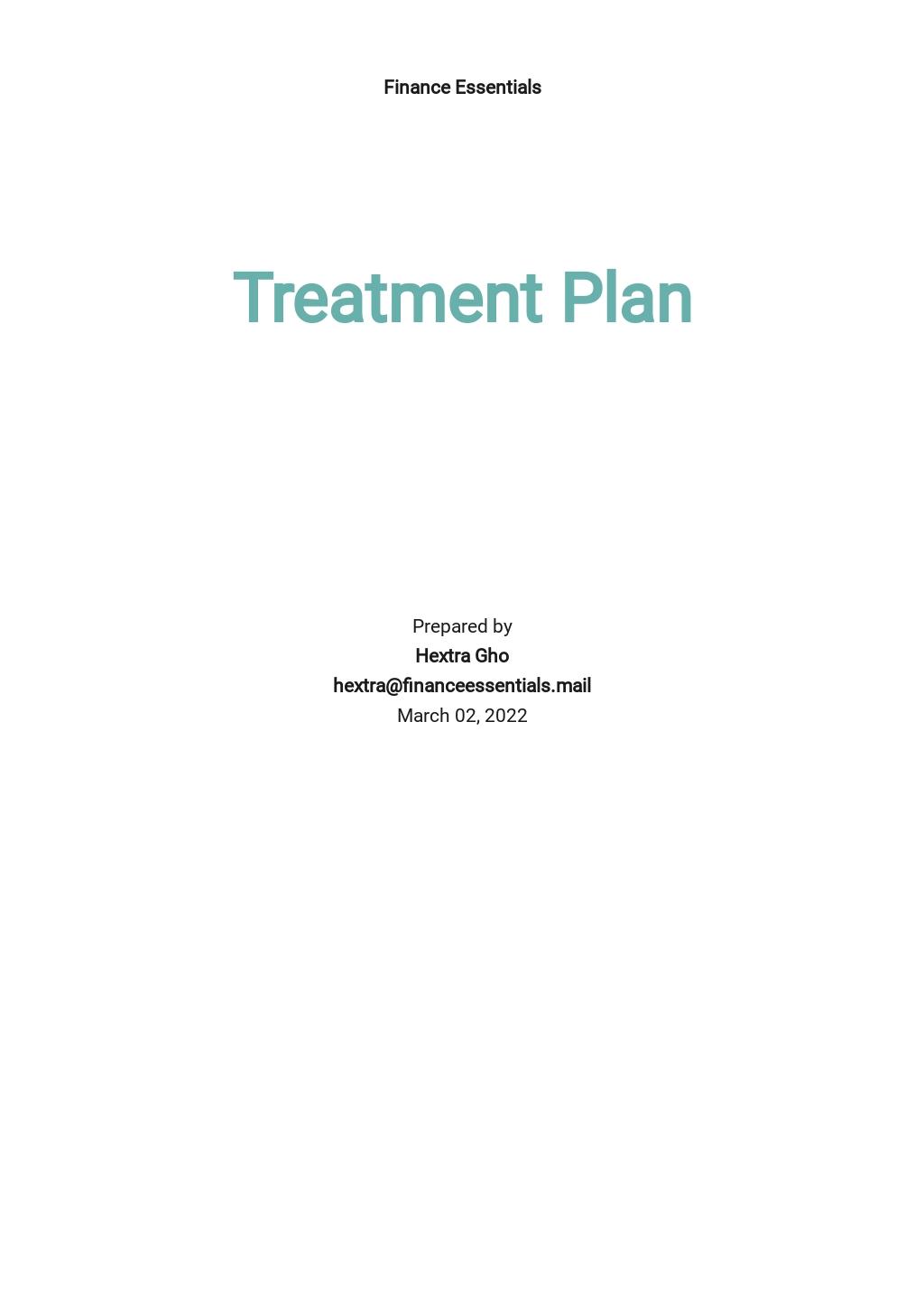 Editable Treatment Plan Template