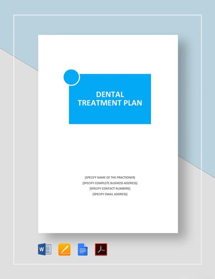 Dental Treatment Plan Template