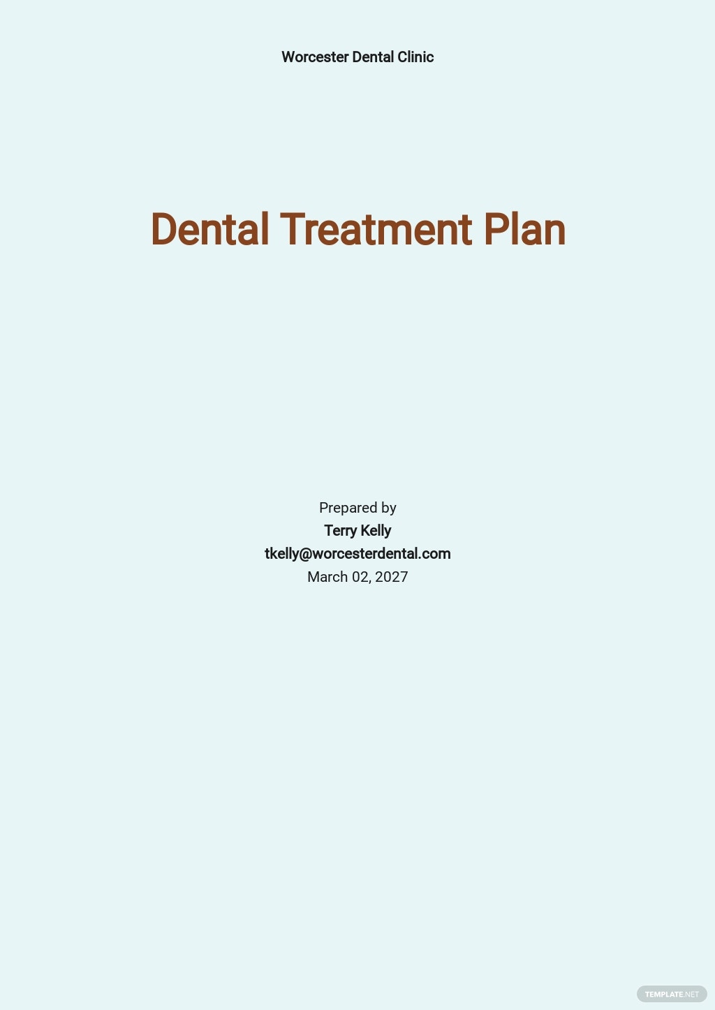 Dental Treatment Plan Template