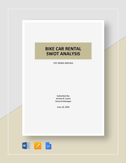 Bike/Car Rental SWOT Analysis Template