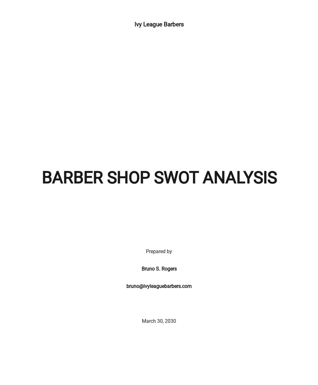 Barber Shop SWOT Analysis Template