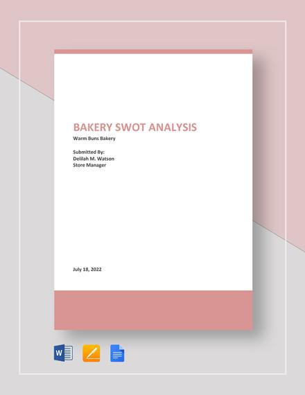 Bakery SWOT Analysis Template
