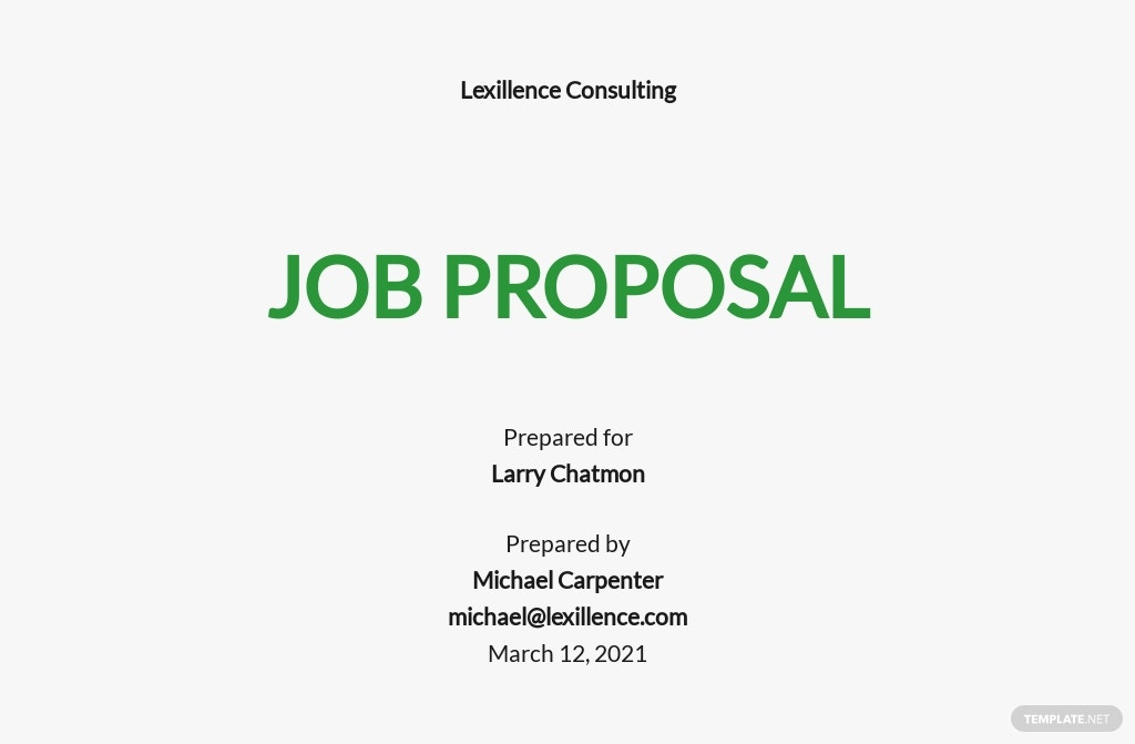 Sample Job Proposal Template