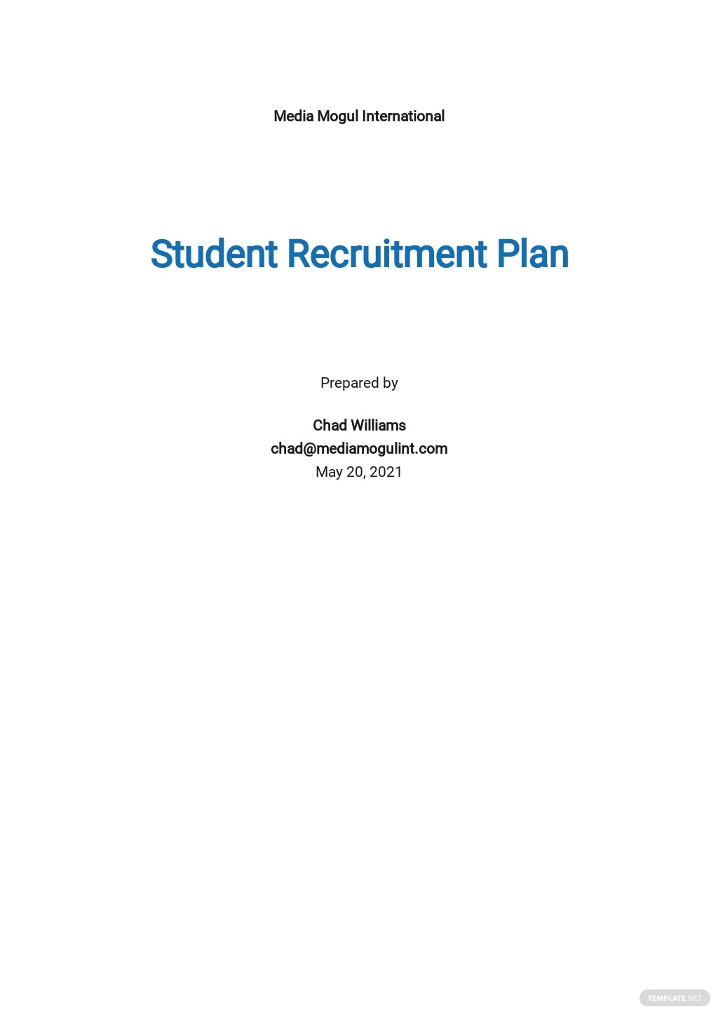 Student Recruitment Plan Template