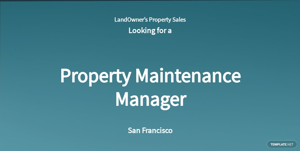 Property Maintenance Manager Job Ad and Description Template