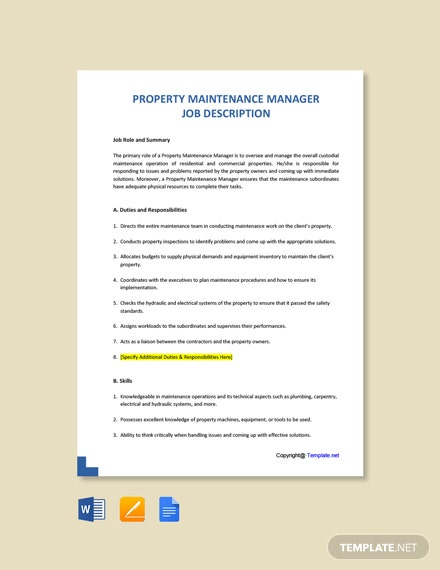 Free Property Maintenance Manager Job Ad and Description Template