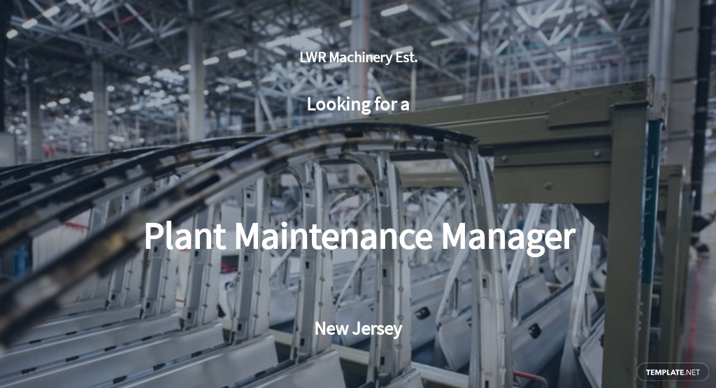 Plant Maintenance Manager Job Description Template