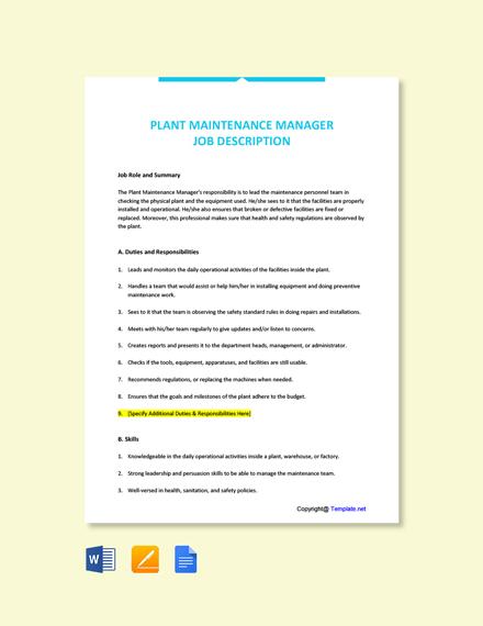 Free Plant Maintenance Manager Job Description Template