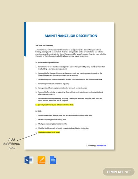 Free Maintenance Job Description Template