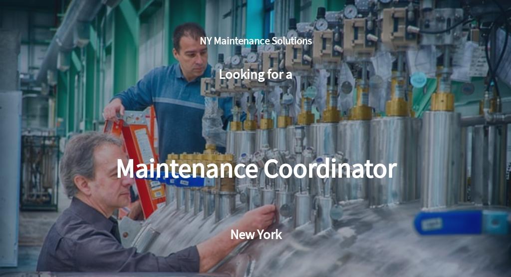 Maintenance Coordinator Job Description Template